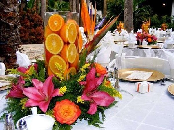 Como hacer un centro de mesa con frutas