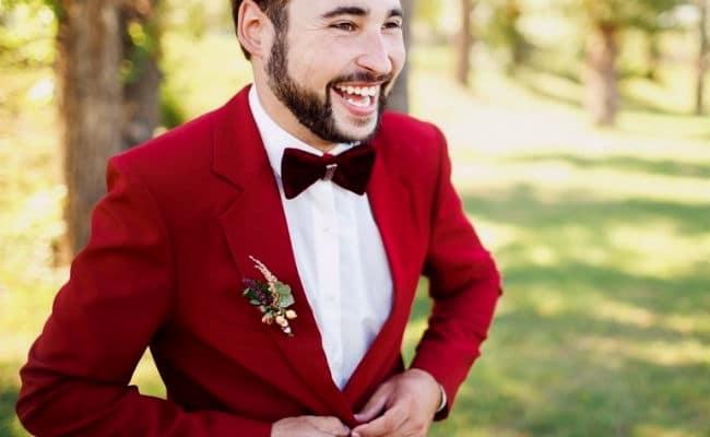Traje paras boda rojo