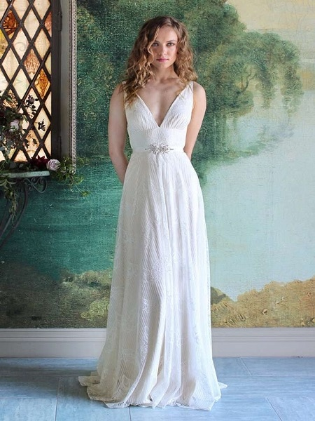 Vestido blanco con escote