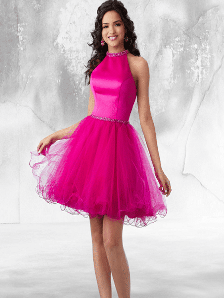 Vestido corto rosa para boda