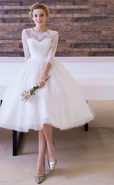 Vestido para novia semi corto