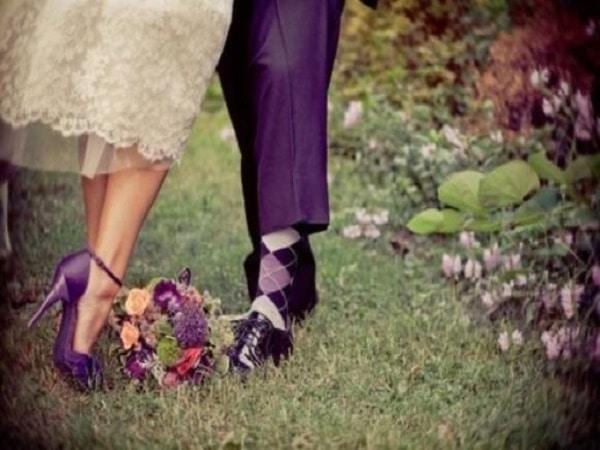 zapato para novia de color morado