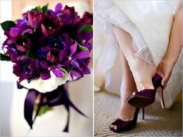 combinar zapatos con ramo de flores