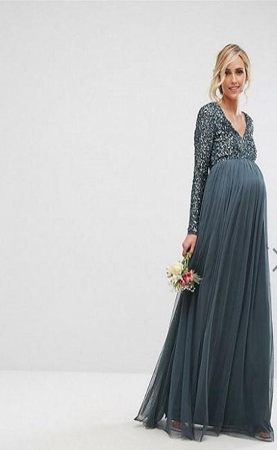 vestidos de boda de color para embarazadas