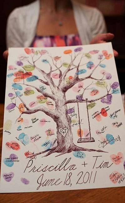 árbol de huellas para bodas